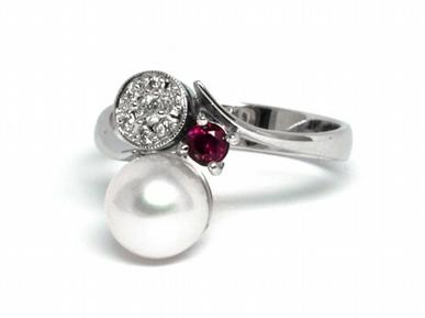 Luxusní prsten s perlou, rubínem a diamanty 585/2,84 gr J-21120-12 POŠTOVNÉ ZDARMA!