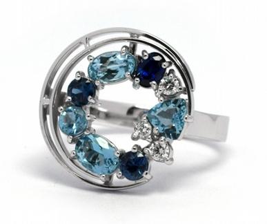 Luxusní prsten se safírem,akvamarínem a diamanty 585/4,88 gr J-21358-12 POŠTOVNÉ ZDARMA!