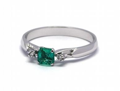 Luxusní zásnubní diamantový prsten se smaragdem 585/2,02 gr J-21376-12 POŠTOVNÉ ZDARMA! (21376-12)