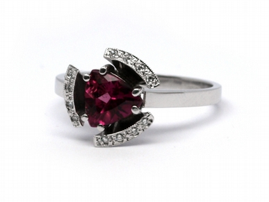 Diamantový prsten s turmalínem Brazílie 585/3,78 gr J-18087-12 POŠTOVNÉ ZDARMA!