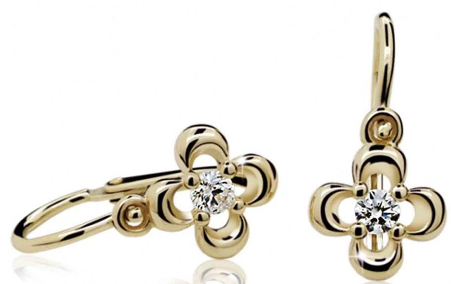 Dětské náušnice žluté zlato s růženínem 585/1,05 gr P394 POŠTOVNÉ ZDARMA! (4030018)