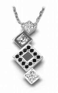 Zlatý diamantový náhrdelník s přírodními a černými diamanty 585/3,06gr J-20402-1