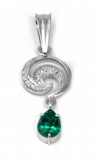 Diamantový zlatý přívěsek se smaragdem KOLUMBIE 585/1,75 gr J-20253-11 POŠTOVNÉ ZDARMA!