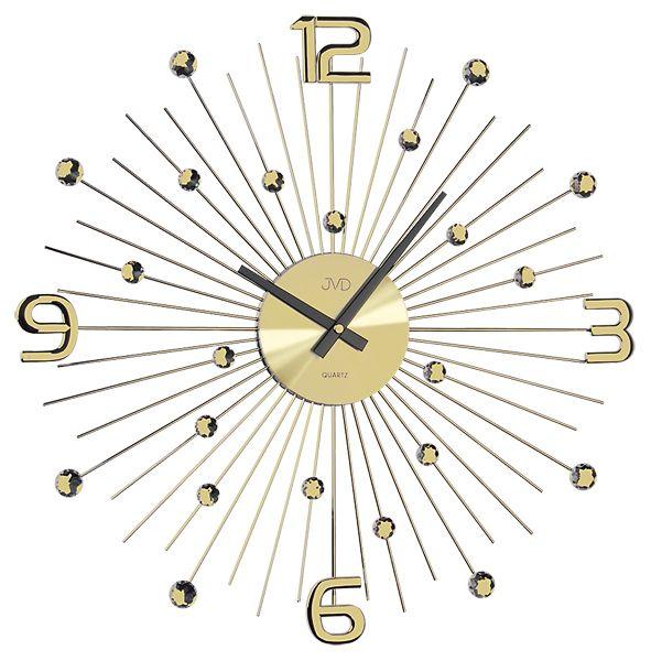 Luxusní moderní zlaté kovové nástěnné hodiny JVD HT074.1 (ht074.1 POŠTOVNÉ ZDARMA)