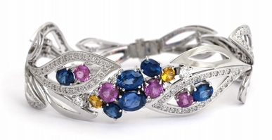 Luxusní mohutný diamantový náramek se modrými a růžovými safíry a diamanty POŠTOVNÉ ZDARMA!