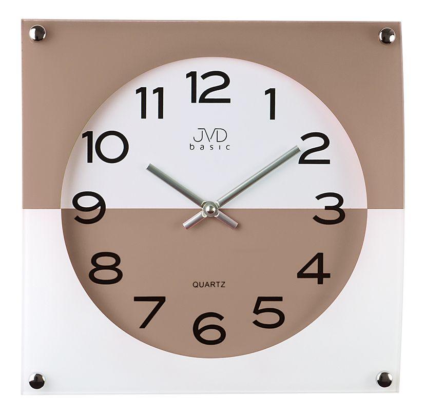 Skleněné dvoubarevné nástěnné hodiny JVD quartz N28114.5