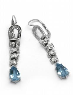 Luxusní diamantové náušnice z brazilskými akvamaríny 585/5,80 gr J-22536-13 POŠTOVNÉ ZDARMA!