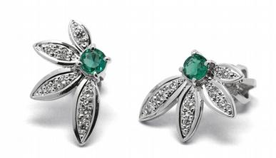 Zlaté náušnice s kolumbijskými smaragdy a diamanty 585/2,09 gr J-22557-13 POŠTOVNÉ ZDARMA! (J-22557-13)