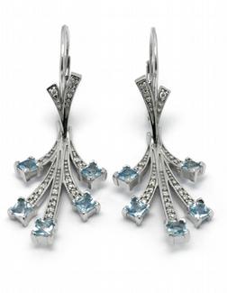 Zlaté náušnice s brazilskými akvamaríny a diamanty 585/7,03 gr J-22189-13 POŠTOVNÉ ZDARMA!