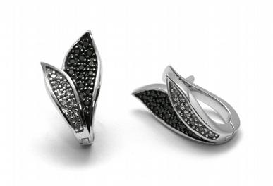 Zlaté náušnice s černými pravými diamanty 585/4,65 gr J-22187-13 POŠTOVNÉ ZDARMA! (J-22187-13)