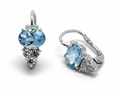 Zlaté náušnice s brazilskými akvamaríny a diamanty 585/1,95 gr J-22241-13 POŠTOVNÉ ZDARMA!
