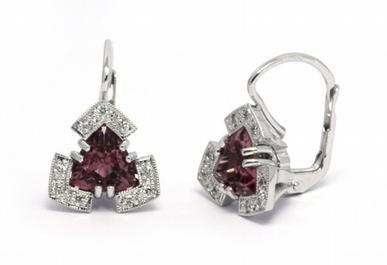 Zlaté náušnice s přírodními turmalíny a diamanty 585/3,87 gr J-21616-12 POŠTOVNÉ ZDARMA! (J-21616-12)