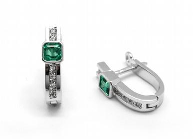 Zlaté náušnice s kolumbijskými smaragdy diamanty 585/2,55 gr J-21660-12 POŠTOVNÉ ZDARMA! (J-21660-12)