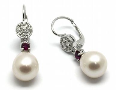 Zlaté náušnice s rubíny, perlami a diamanty 585/2,57 gr J-21121-12 POŠTOVNÉ ZDARMA! (J-21121-12)