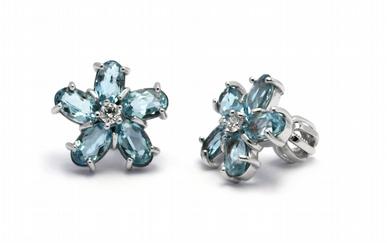 Diamantové náušnice s brazilskými akvamaríny 585/2,22 gr J-21137-12 POŠTOVNÉ ZDARMA!