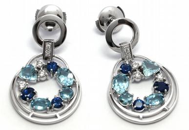 Diamantové náušnice se safíry, akvamaríny a diamanty 585/6,60 gr J-21360-12POŠTOVNÉ ZDARMA!