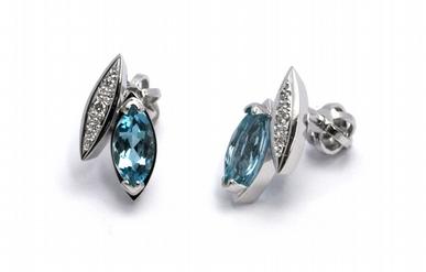 Diamantové náušnice s brazilskými akvamaríny a diamanty 585/2,31 gr J-21415-12POŠTOVNÉ ZDARMA!