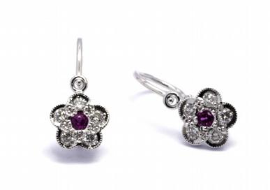 Diamantové náušnice s přírodními pravými rubíny 585/1,18 gr J-21171-12 POŠTOVNÉ ZDARMA!