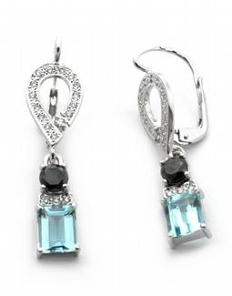 Diamantové náušnice s brazilskými akvamaríny 585/3,73 gr J-20893-12 POŠTOVNÉ ZDARMA!
