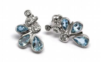 Diamantové náušnice s brazilskými akvamaríny a diamanty 585/2,39 gr J-18520-11 POŠTOVNÉ ZDARMA!