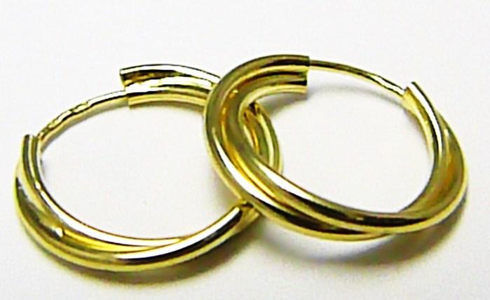 Silnější dvojité zlaté kruhy náušnice pr. 15mm 585/1,29gr Z056