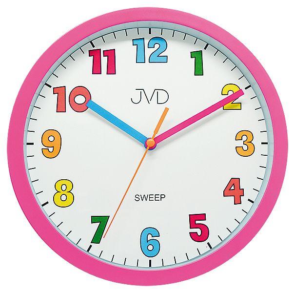 Růžové barevné tiché netikající dětské hodiny JVD sweep HA46.2