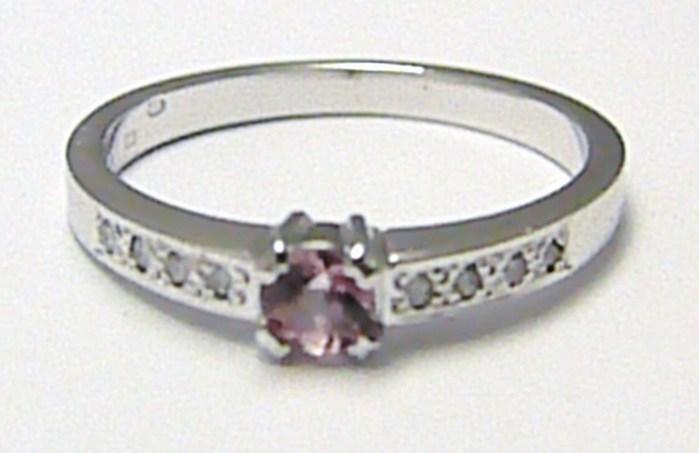 Diamantový prsten se vzácným růžovým safírem 585/2,69g vel. 55 SKLADEM!! D007 POŠTOVNÉ ZDARMA!
