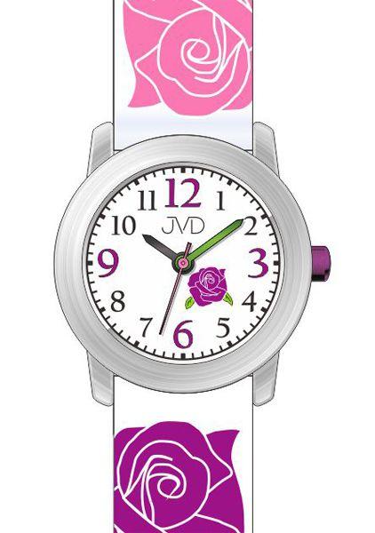 Dětské růžové hodinky JVD J7145.2 pro mladé slečny s růžičkama