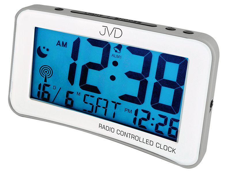 Digitální moderní rádiem řízený budík JVD RB860.3 - stříbrný (rb860.3)