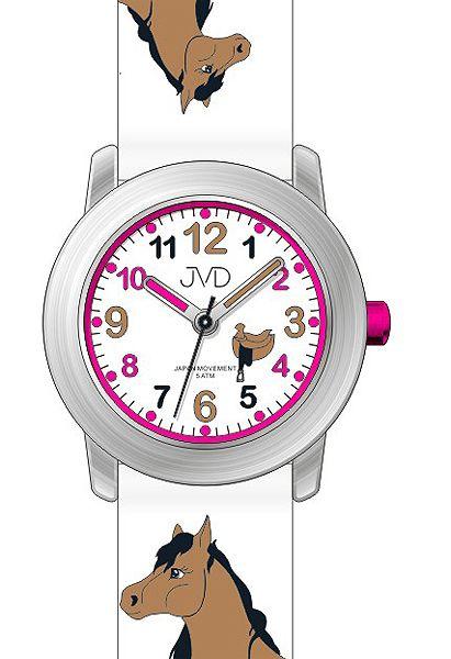 Dětské dívčí hodinky JVD J7150.1 s motivem koně a podkovami pro štěstí