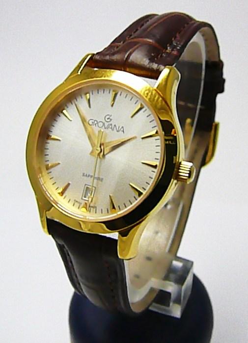 Dámské švýcarské zlacené hodinky Grovana 3201.1512 se safírovým sklem POŠTOVNÉ ZDARMA!