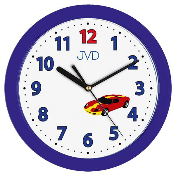 Modré dětské nástěnné hodiny JVD H12.5 se závoďákem (auto)