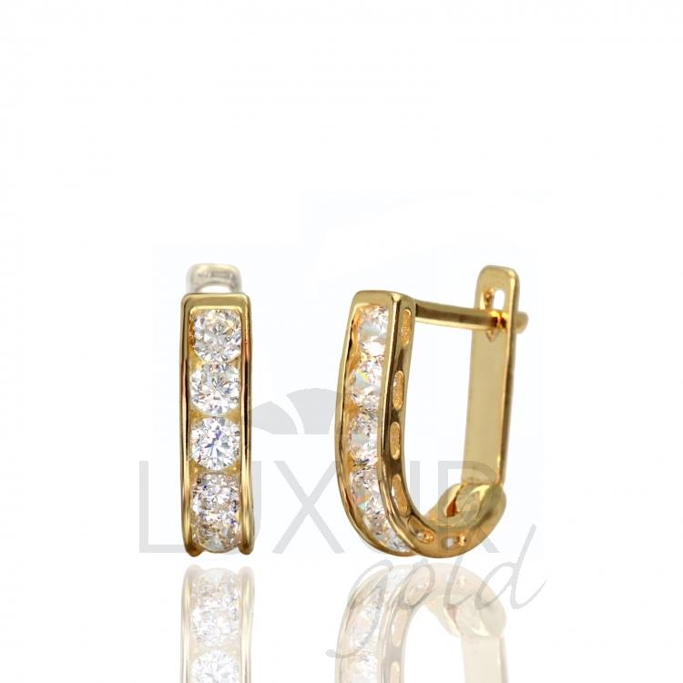 Zlaté náušnice ze žlutého zlata se zirkony 2230163 P414