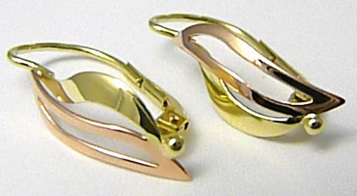 Luxusní dámské zlaté náušnice z dvojího zlata 585/1,66gr Z072 POŠTOVNÉ ZDARMA! (231040920)