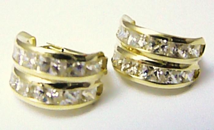 Mohutné zlaté velké kruhy - náušnice posetí zirkony 585/2,91 gr Z076