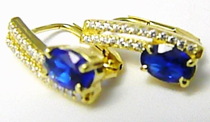 Luxusní dámské zlaté náušnice se zirkony a modrými safíry 585/2,78gr Z078 POŠTOVNÉ ZDARMA!