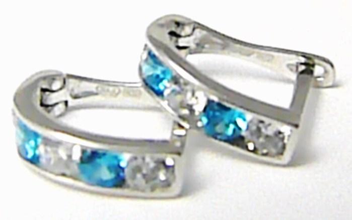 Dámské náušnice s barevnými zirkony (blue topaz) - čtvrtkroužky 585/1,07gr P395