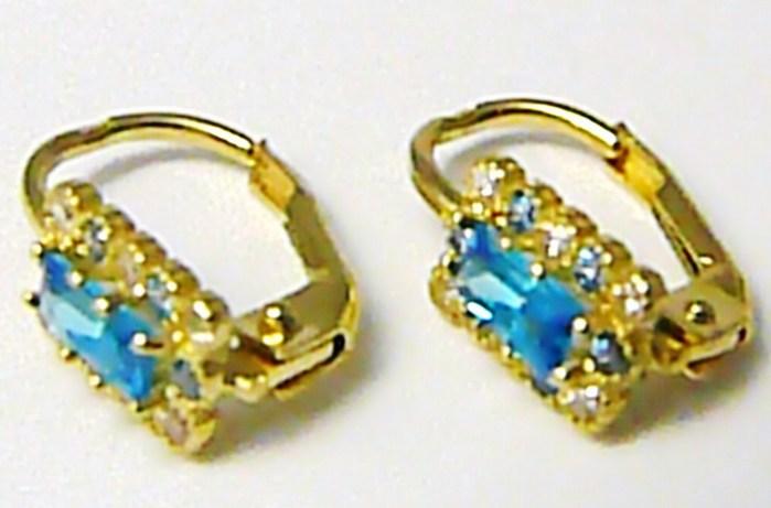 Dámské zlaté náušnice s barvenými modrými zirkony 585/1,55 gr P399 POŠTOVNÉ ZDARMA! (2230450)