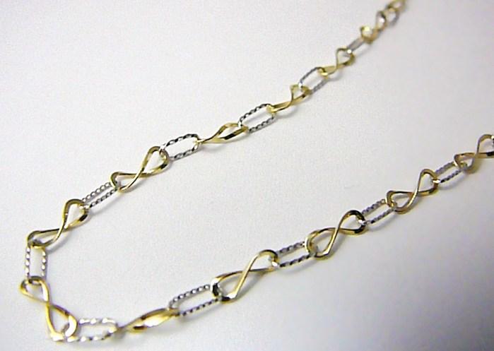 Dámský náhrdelník z bílého a žlutého zlata s gravírováním 42cm 585/2,50gr P412