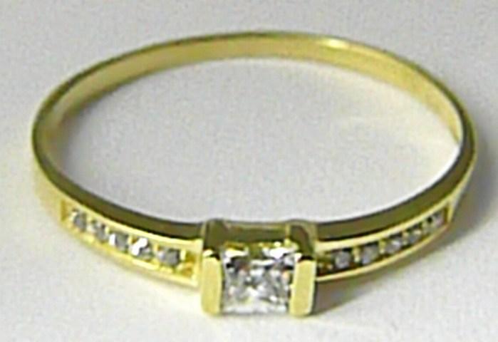 Zásnubní zlatý velký prsten posetý zirkony vel. 55 585/1,24gr Z080 POŠTOVNÉ ZDARMA! (22304130