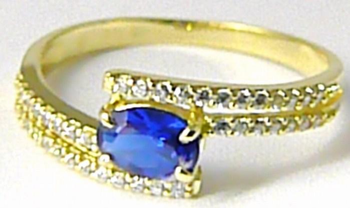 Mohutný zásnubní luxusní prsten s modrým safírem zirkony vel. 59 588/2,85gr Z083 POŠTOVNÉ ZDARMA! (226041083)