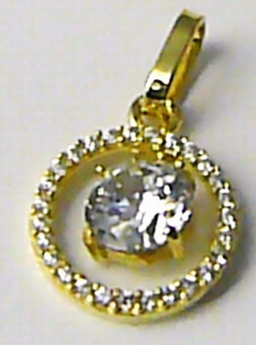 Dámský zlatý přívěsek s velkým zirkonem v kruhu 585/1,26gr 246040764 (246040764)