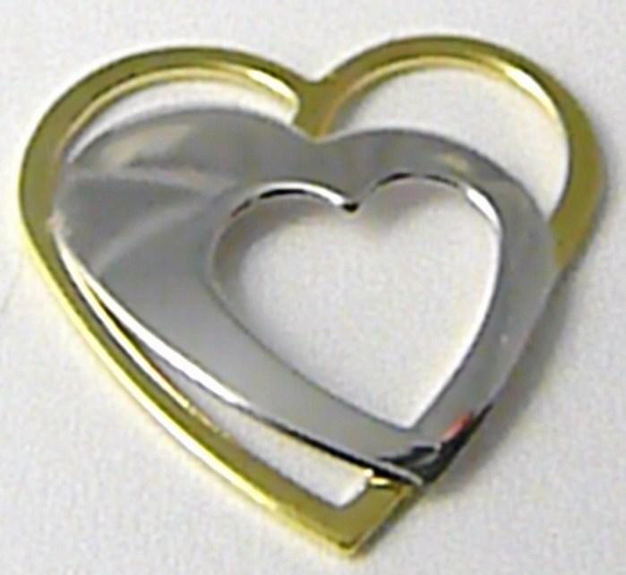 Velké zlaté srdce - přívěsek - srdíčko s dvojího zlata 585/0,86gr Z099