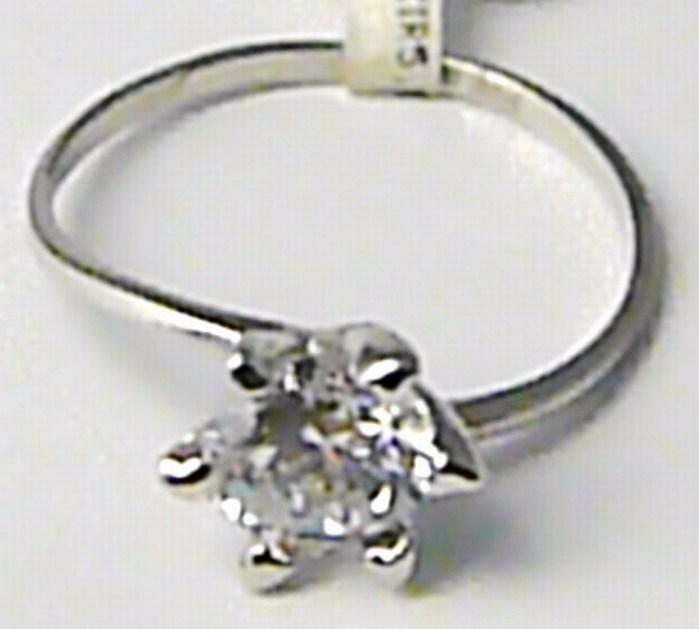 Zásnubní zlatý prstýnek z bílého zlata s velkým zirkonem 585/1,27gr vel. 52 P418 (1166022)