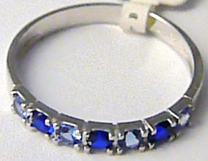 Dámský luxusní prsten z bílého zlata se safíry a topazy 585/1,65 gr vel. 56 P419