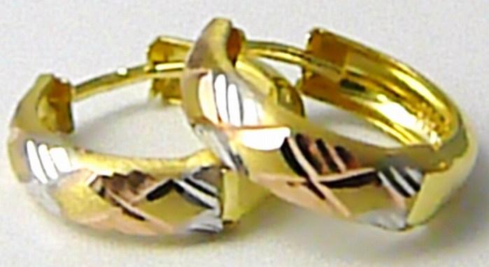 Dámské zlaté kruhy z dvojího zlata (bílé a žluté) 585/1,12gr P424