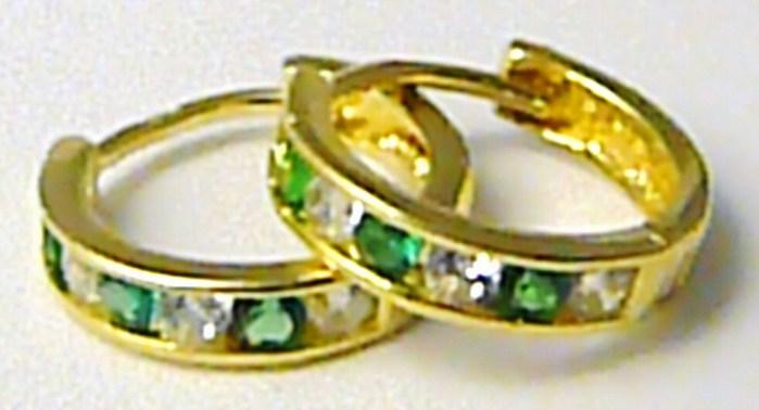 Dívčí zlaté náušnice zlaté kruhy se smaragdy 585/1,10gr 1131195 (1131195)