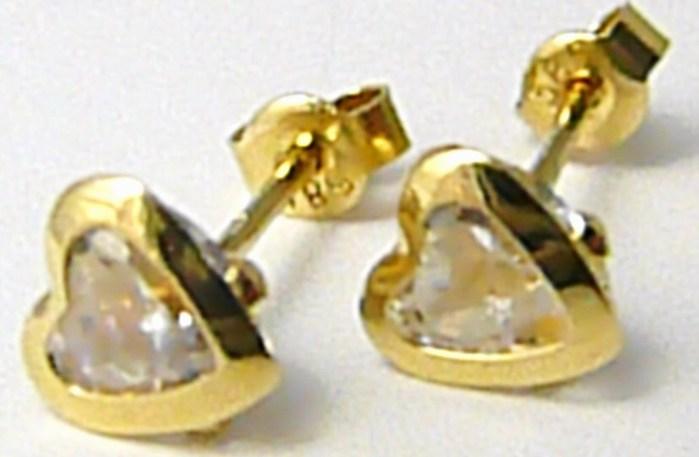 Zlaté srdíčkové náušnice - zlaté pecičky se zirkonem SRDCE 585/1,22 gr P426
