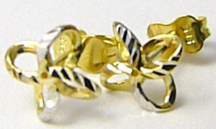 Zlaté náušnice z bílého a žlutého zlata pecičky na puzetku 585/0,92gr P427 (1431058)