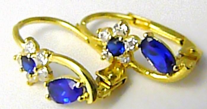 Luxusní dámské zlaté náušnice s modrými safíry a zirkony 585/1,75gr P431 (2230456)